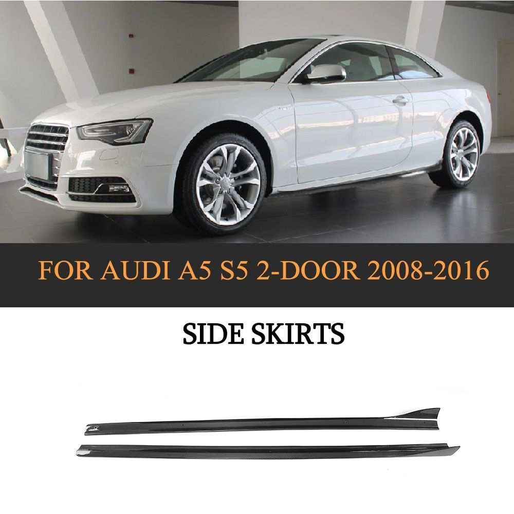 Carbon Schwarz Auto Körper Schürzen Seite Röcke für Audi A5 S5 S Linie Coupe 2 Tür Cabrio 2008- 2016 2 PCS FRP