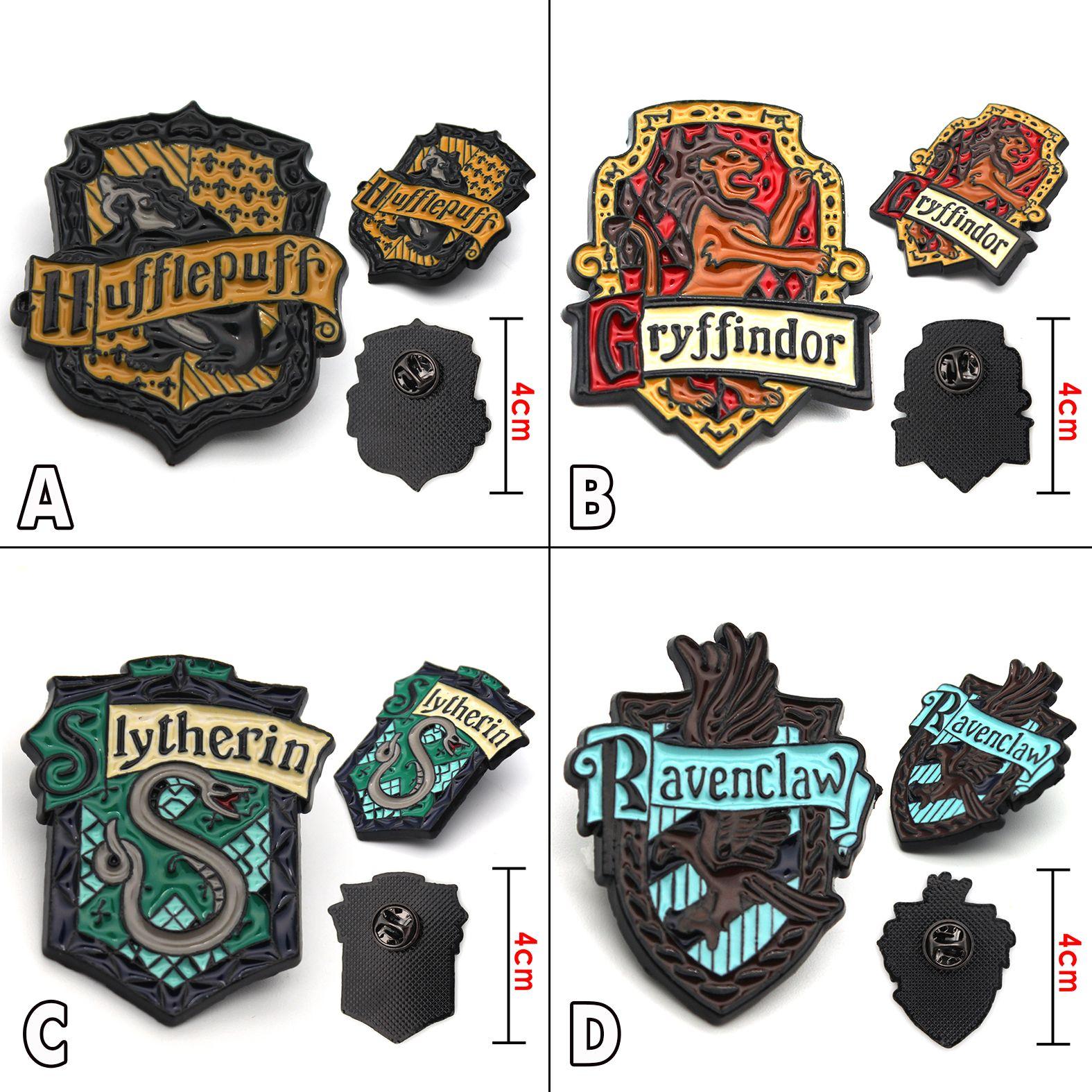 Harri Potter Gryffindor Slytherin Hufflepuff Ravenclaw Symbol Metall Abzeichen Pin Brosche Brust Ornament Cosplay Sammlung Geschenk Kühlen