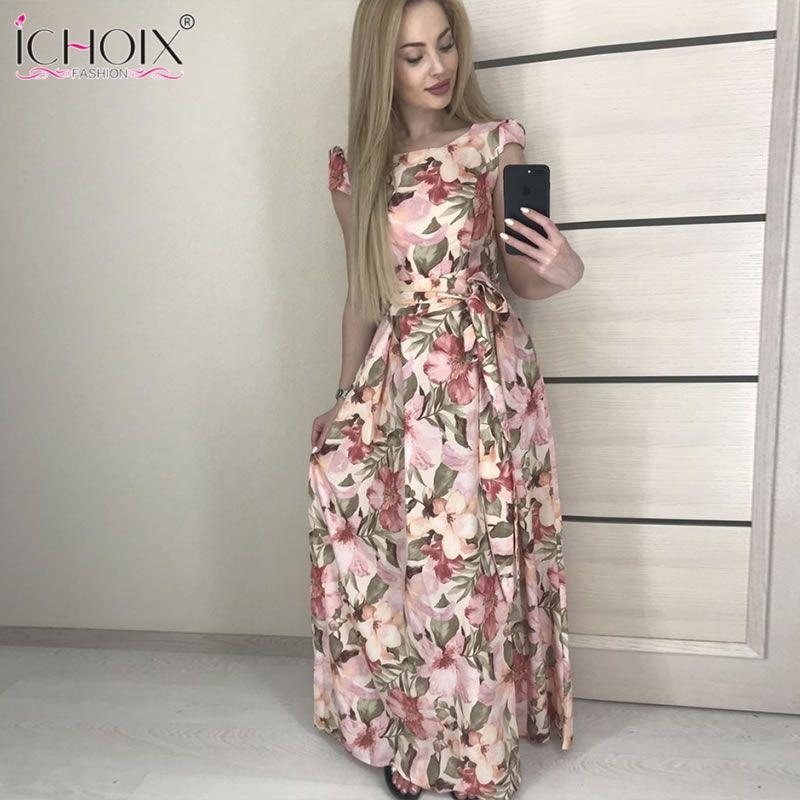 2019 été femmes longue robe Vintage soirée fête imprimé Floral Maxi robes Boho élégant étage longueur robe vestidos