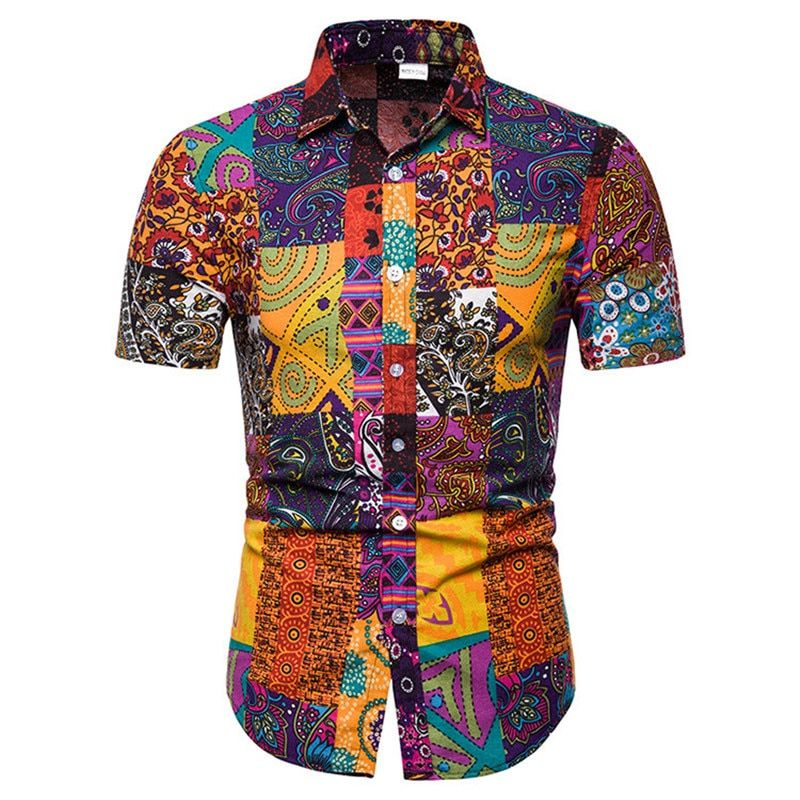 2019 summer new men's casual short-sleeved flower shirt large size S-5XL thin section cotton comfortable breathable shirt