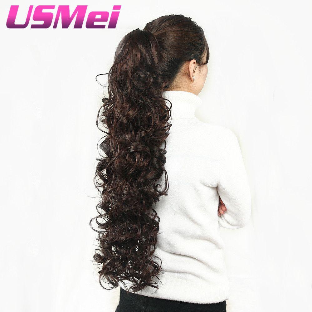 USMEI 32 pouces de Long pince à griffes bouclés queue de cheval fausse Extensions de cheveux faux cheveux queues de poney cheval tresse synthétique postiches