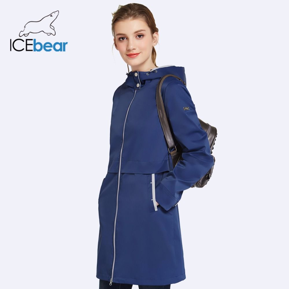 ICEbear 2018 Woman Clothing Solid Color Long Sleeved Casual New Women Coat Stand Collar Pockets Trench Coat 17G122D