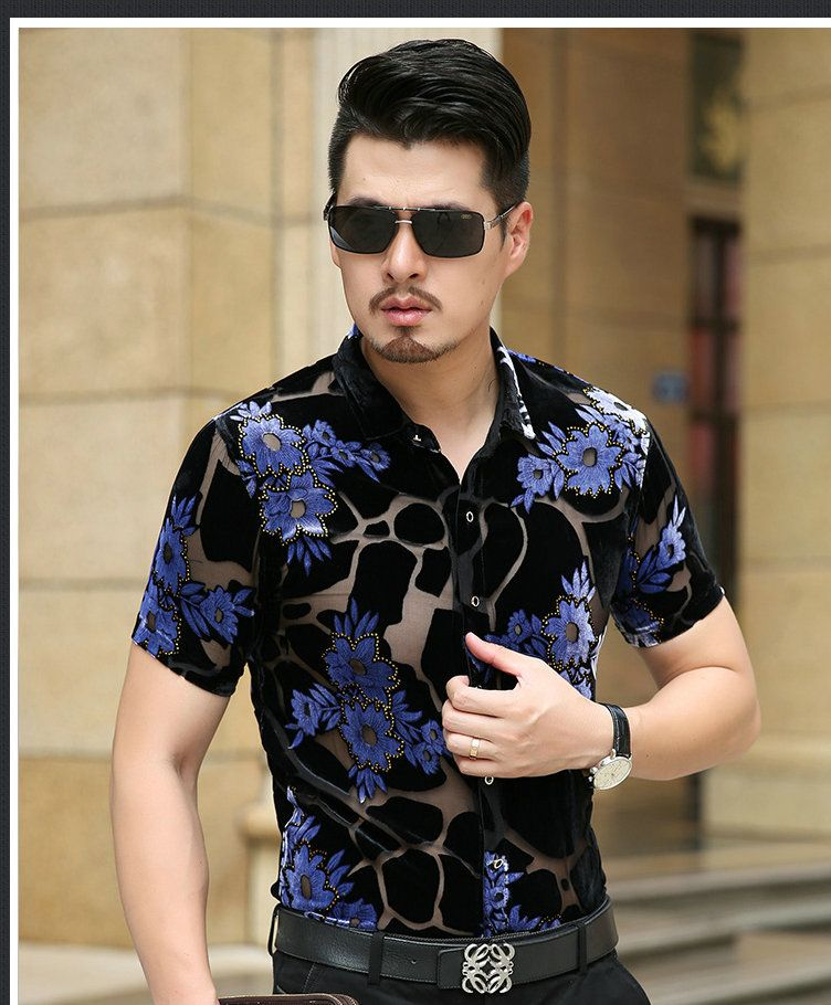 Mens floral shirts summer new arrival 2017 sexy see through male dress short sleeve transparent floral dress shirts V026-V047