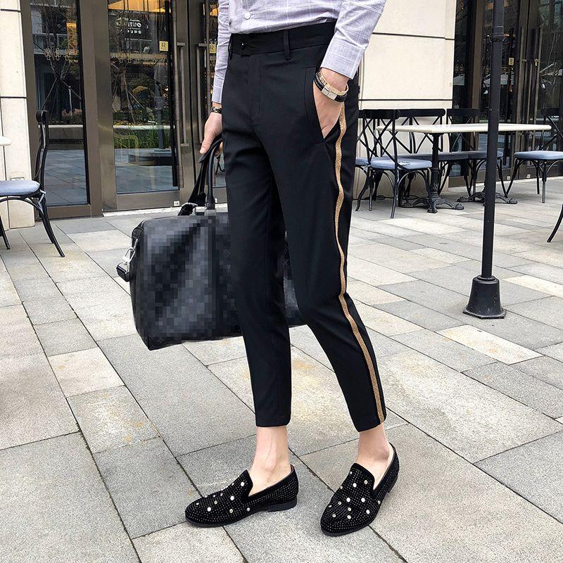 Side Tape Pant 2018 Mens Dress Pant Business Casual Office Trousers Ment Ankle Length Pantalon Homme Slim Fit Men Social Trouser