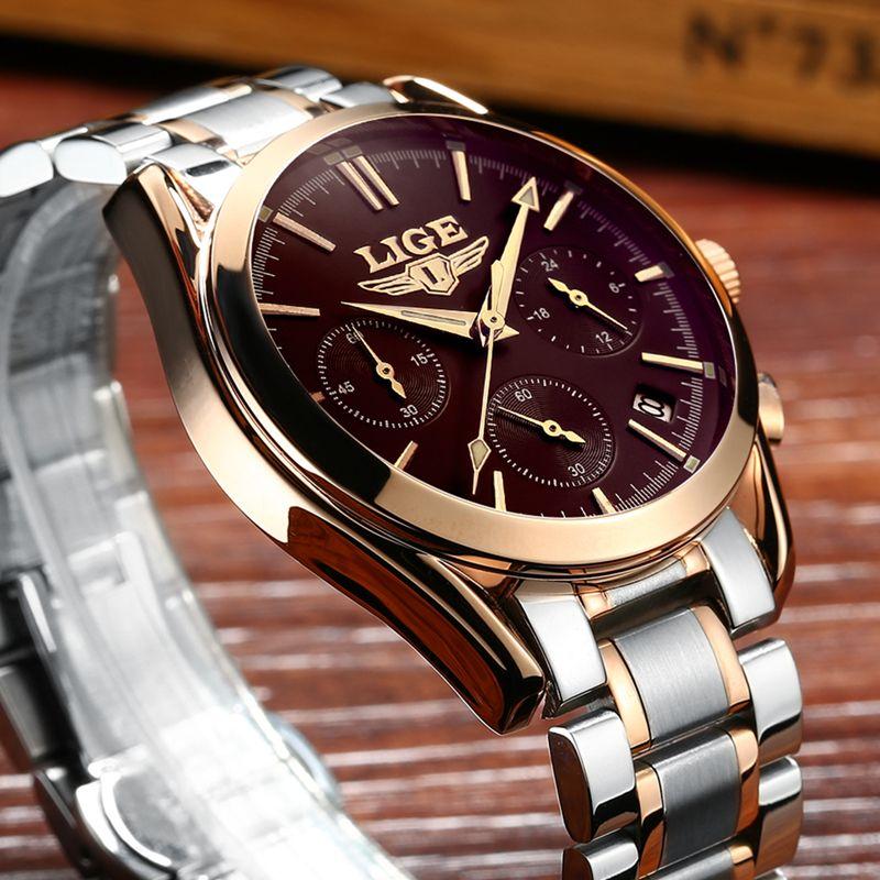 Montres hommes LIGE marque entièrement en acier montres militaires hommes horloge à Quartz hommes montre d'affaires Sport étanche montre-bracelet homme Relojes