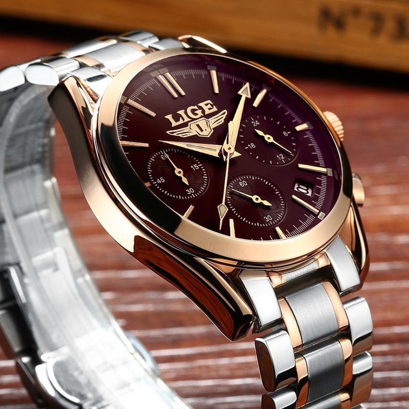 Watches Men LIGE Brand Full Steel Military Watches Men's Quartz Clock Men Business Watch Sport Waterproof WristWatch Man Relojes