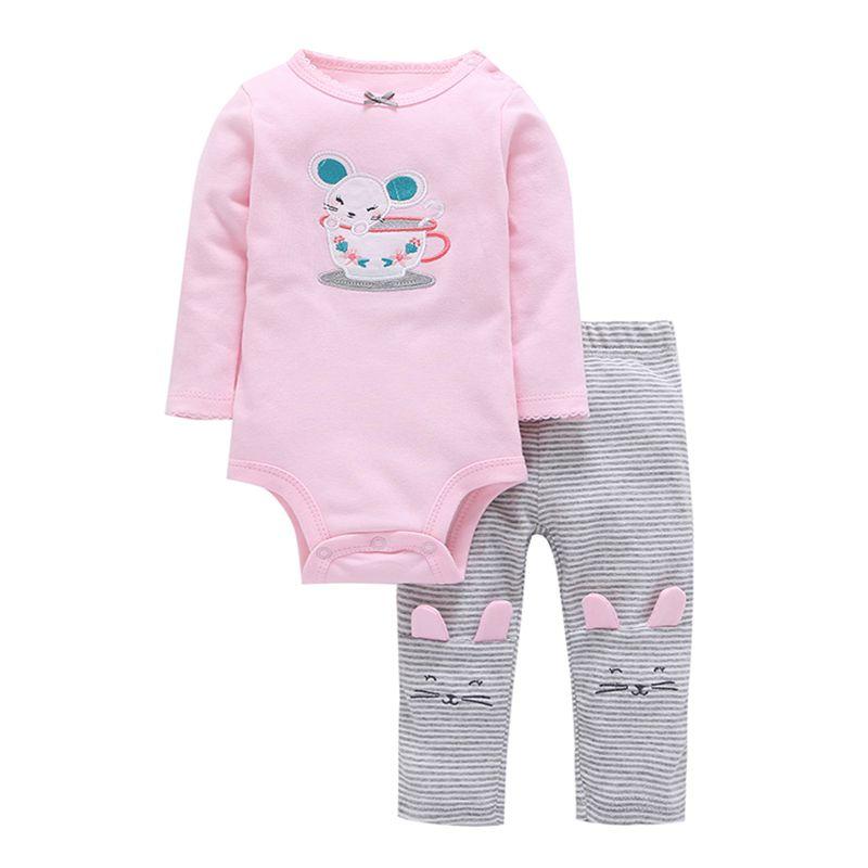 2018 Plein Réel Limitée À Manches Longues Coton Romperjumpsuits Les Nouveau-nés Bébé bébé Fille Équipement de Dessin Animé Souris Vêtements Pour Enfants Ensemble
