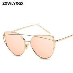 2019 металлические солнцезащитные очки женские роскошные кошачий глаз фирменный дизайн зеркальные розовые новые золотые винтажные кошачьи ...