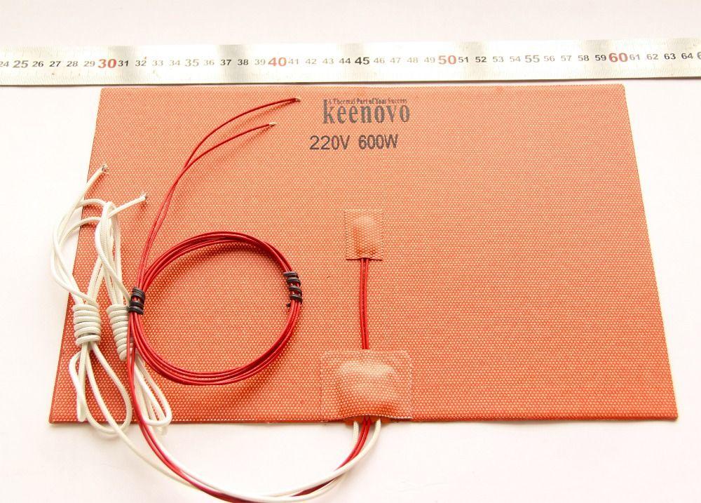 200 мм x 300 мм, 600W @ 220 В, w/ntc 100 К Термистор, keenovo силиконовый обогреватель 3D-принтеры Heatbed, первый Класс гарантированное качество