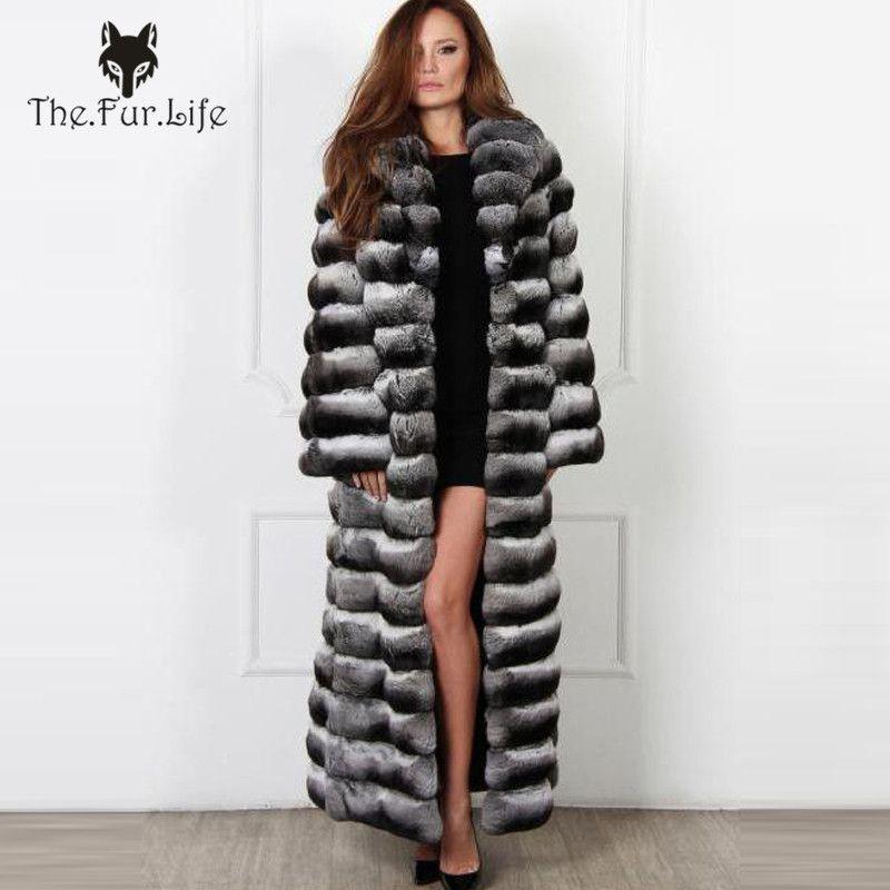 130cm X-Long Real Chinchilla Rex Rabbit Fur Coat For Women Full Pelt Fur Fur Coats Outerwear Warm Winter Long Big Collar