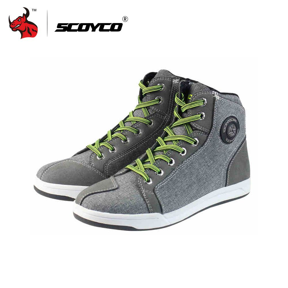 SCOYCO Motorcycle Boots Men Road Street Casual Shoes Bato Motocross Boots Breathable Moto Protective Gear Flax Microfiber