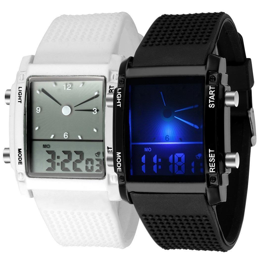 Светящиеся часы для мужчин дисплей световой двойной красочные электронные светодио дный мужчин LED спортивные часы relogio masculino