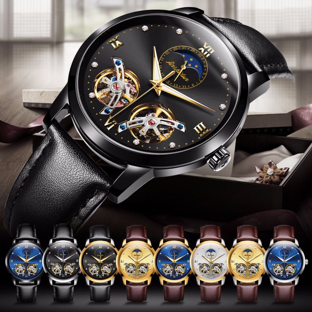 Japan Automatic watch movement Hollow Mechanical watches for men waterproof top brand JSDUN Luxury men watch Leather Waterproof