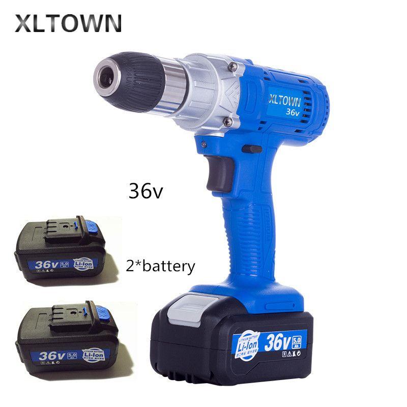 Xltown 36 v high-speed wiederaufladbare lithium-bohrmaschine mit 2 batterie multifunktions elektrische schraubendreher elektrowerkzeuge