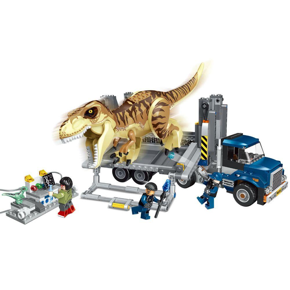 Jurassic World Park T. Rex Transport Building Blocks Kit Bricks Sets Classic Movie City Model Kids Toys Gift Compatible Legoe