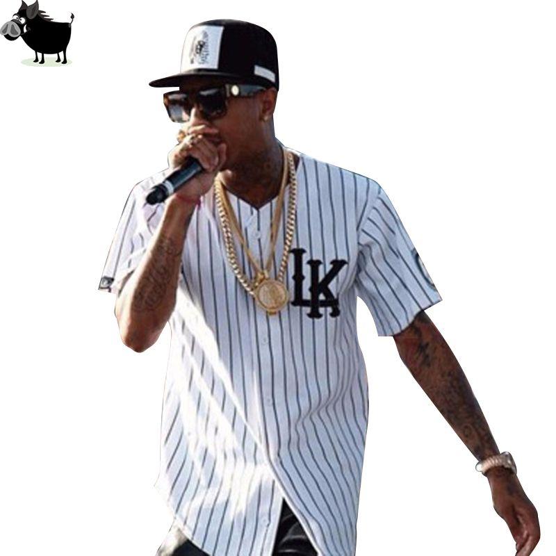Homme Si Tun été Style hommes t-shirts mode Streetwear Hip Hop baseball jersey rayé chemise hommes vêtements tyga derniers rois vêtements
