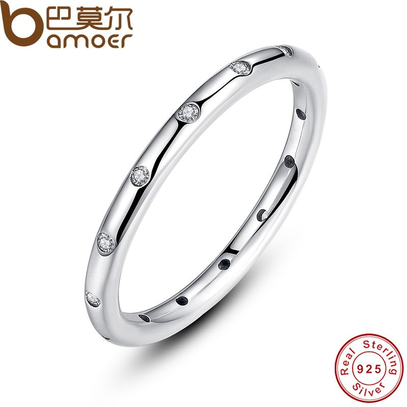 BAMOER 2 Colors 925 Sterling Silver Droplets Stackable Finger Classic Ring for Women Wedding Fine Jewelry Christmas Gift PA7132
