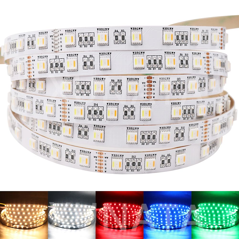 New Arrival 5 Colors in 1 chip RGB+CCT LED Strip 5050 60led/m DC 12V 24V CW+RGB+WW RGBW RGBWW flexible Tape Light
