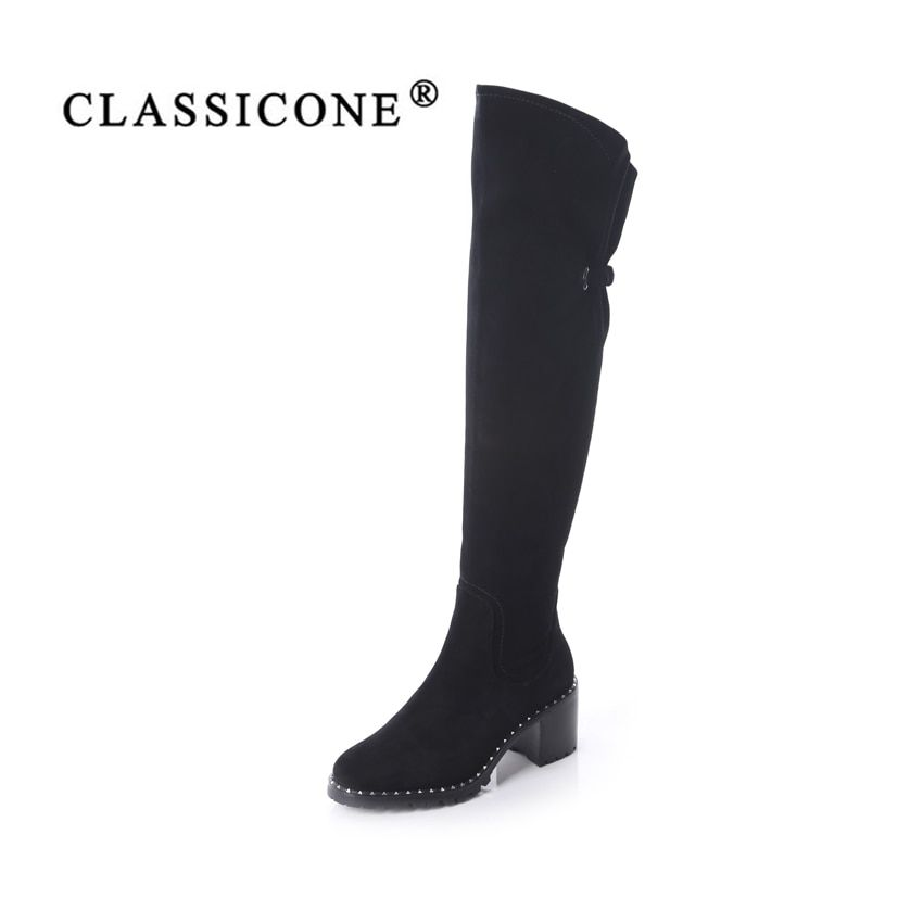 CLASSICONE shoes woman winter over-the-knee boots genuine leather med heels wool inside warm brand fashion Sole is not slippery