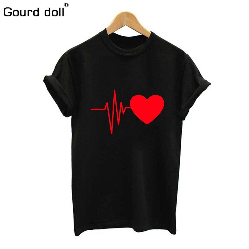 Gourd doll 2018 cotton Love print womens T-shirt Summer t shirt casual multicolor pattern funny shirt ladies top tee fashion