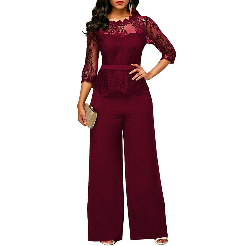 New Casual Elegant Lace Women Jumpsuits Wide Leg Long Sleeve Hollow Out Slim <font><b>Work</b></font> Office Rompers Macacao Feminino
