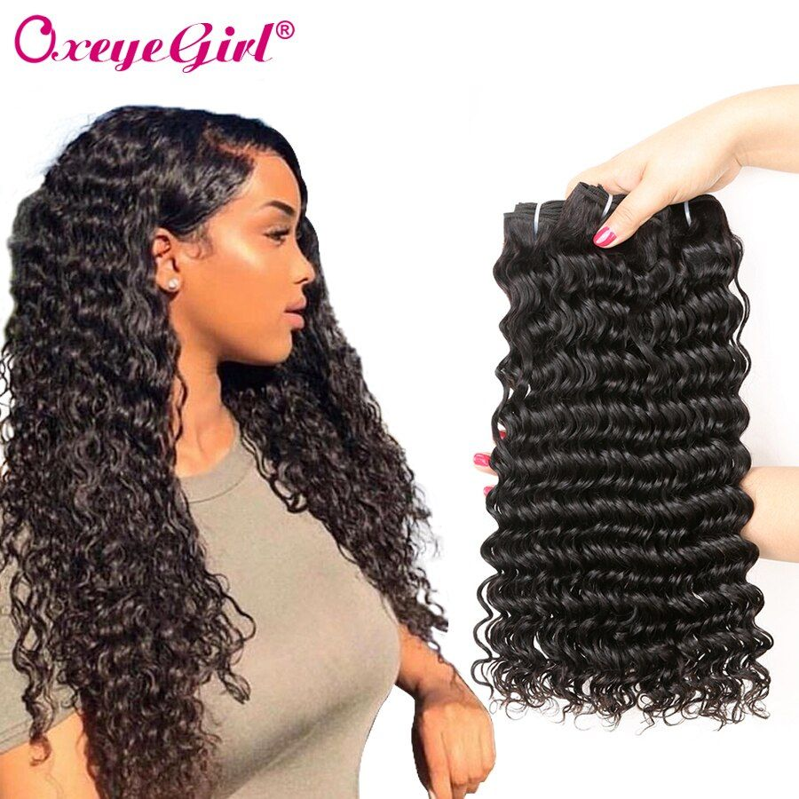 Paquets de vague profonde paquets de tissage de cheveux brésiliens peuvent acheter 1/3 Pcs Extensions de cheveux bouclés profonds Non Remy Oxeye fille paquets de cheveux humains