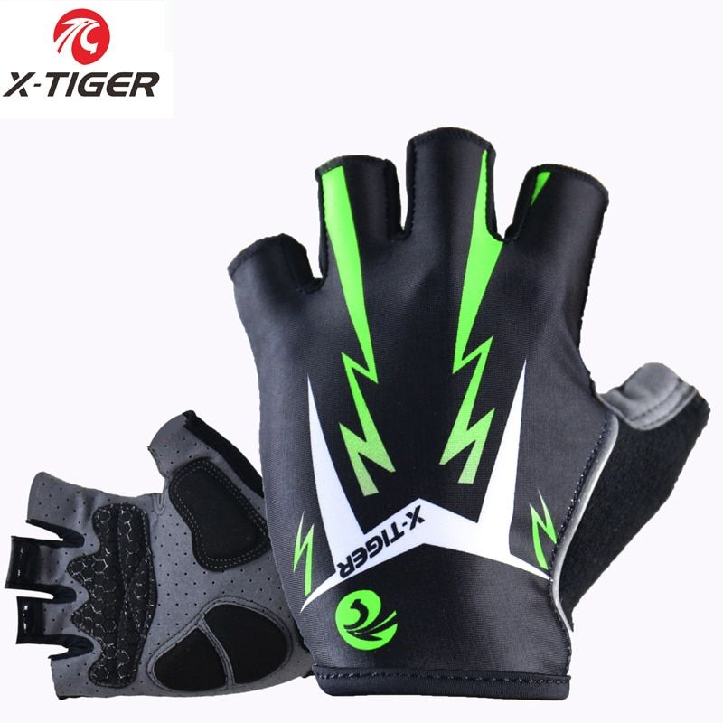 X-Tiger 3D GEL Pad <font><b>Bright</b></font> Green Sport Gloves With Reflective Half Finger MTB Bike Gloves Cycling Gloves Mountain Bicycle Gloves
