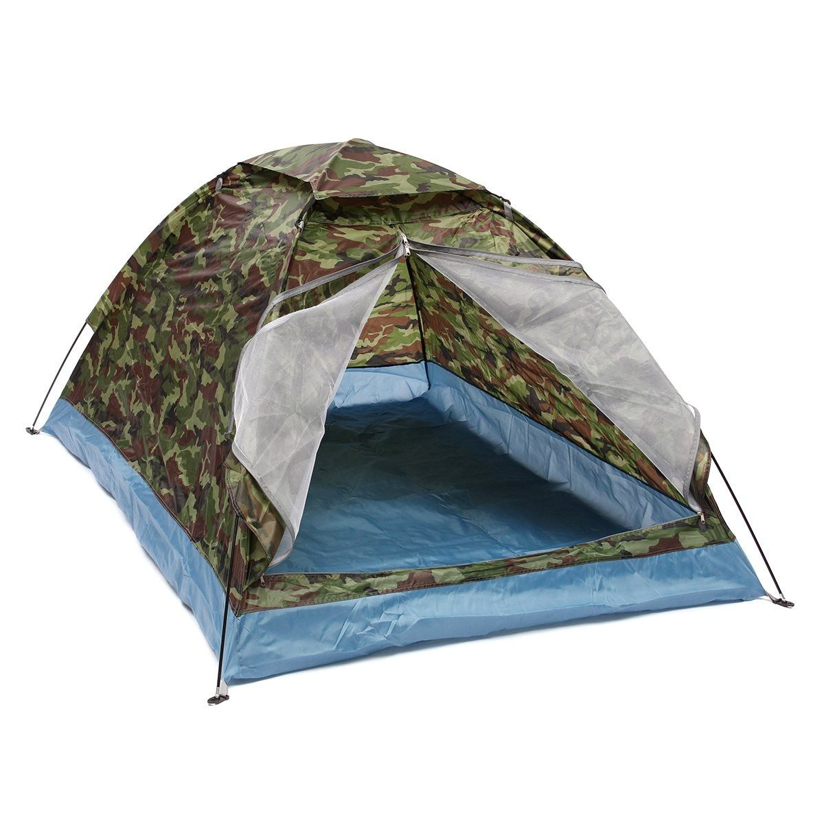 Outdoor 200*140*110cm Oxford cloth PU waterproof coating 4 seasons 2 people single layer Camouflage camping <font><b>hiking</b></font> tent