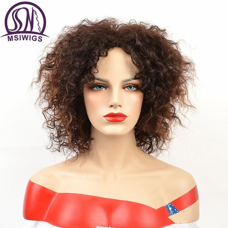 MSIWIGS Afro Short Curly Wigs for Black Women American Natura Fulll Ombre Brown Color Hair Synthetic Wig with Highlight