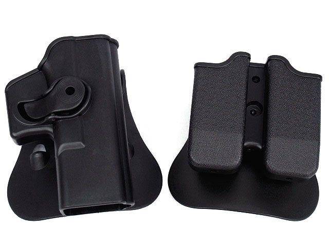 IMI Style Tactical GLOCK 17/19 RH Pistol & Magazine Paddle Holster BK DE