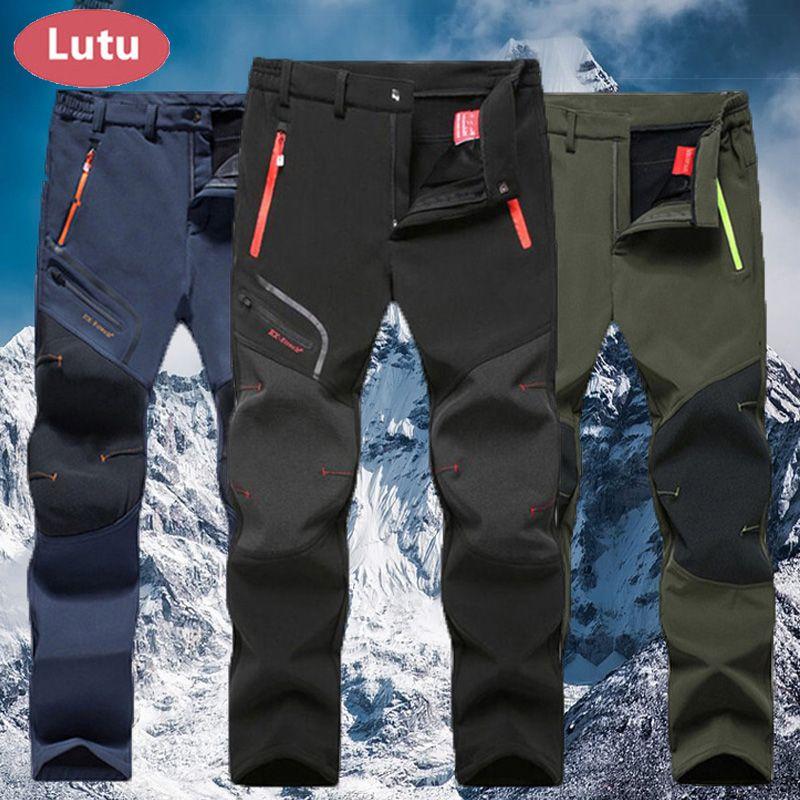 LUTU warm Autumn Winter Softshell Hiking Pants Men Waterproof Outdoor Trousers Sports <font><b>Camping</b></font> Trekking cycling ski fleece Pants