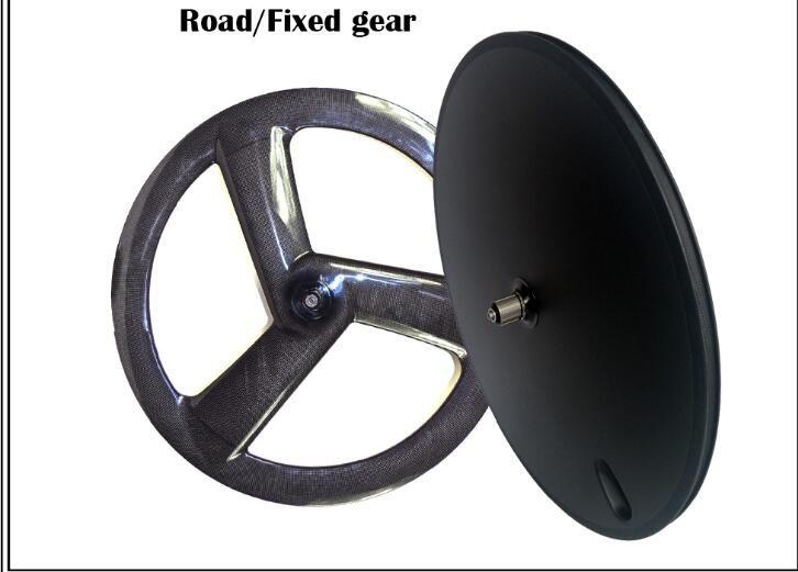 Freies verschiffen carbon fornt 3 speichen hinten disc räder powerway R13 keramik 3 Karat 12 Karat UD matte klammer tubular straße/Fixed getriebe