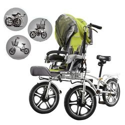 Mama bayi sepeda kereta dorong, ibu dan anak keranjang, ganda sepeda untuk seluruh keluarga, tiga roda kereta dorong bayi roda tiga anak
