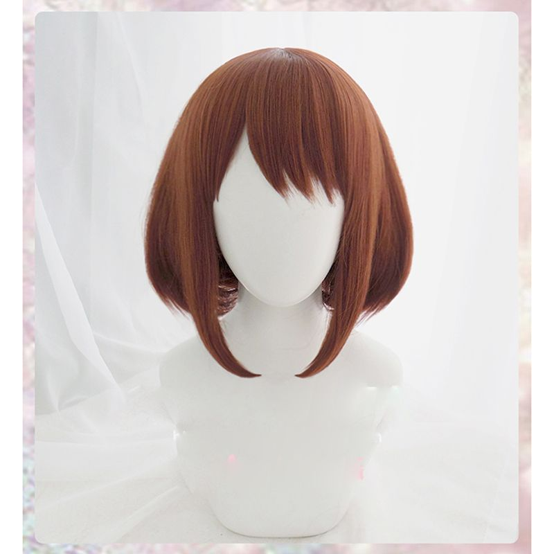 Anime My Hero Academia Ochako Uraraka Short Brown Bob Heat Resistant Cosplay Costume Wig + Cap