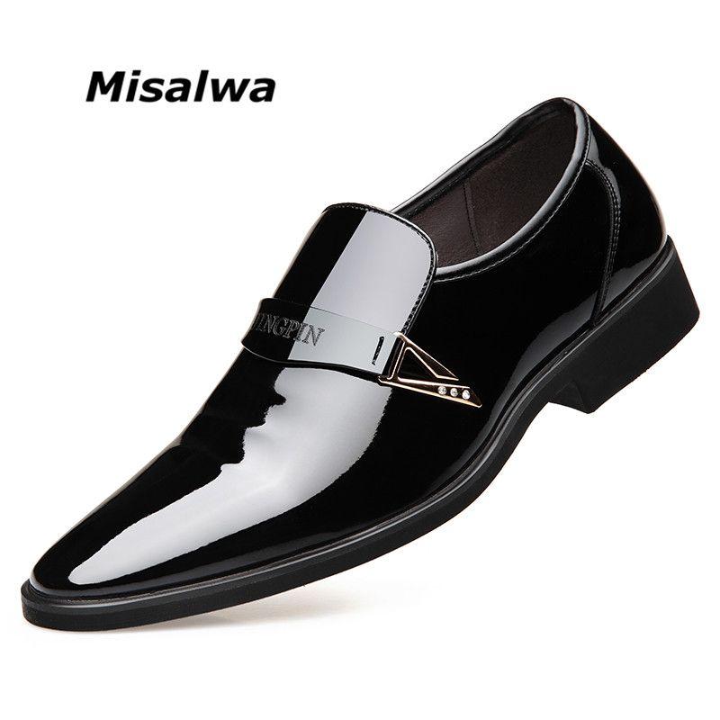 Misalwa Helle Glänzende Oberen Leder Kleid Schuhe Männer Formal Business Schuhe Slip-on Ohne Schnürsenkel Büro Freies Drop Verschiffen