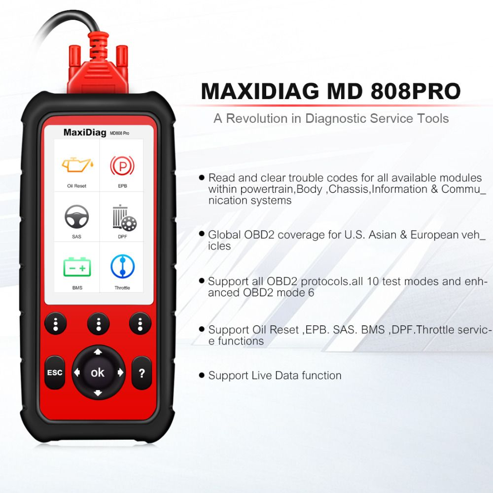 Autel Maxidiag MD808 PRO All System Diagnsotic tool OBDII Scanner support BMS/Oil Reset/ SRS/EPB/DPF Best Handheld Auto Scanner