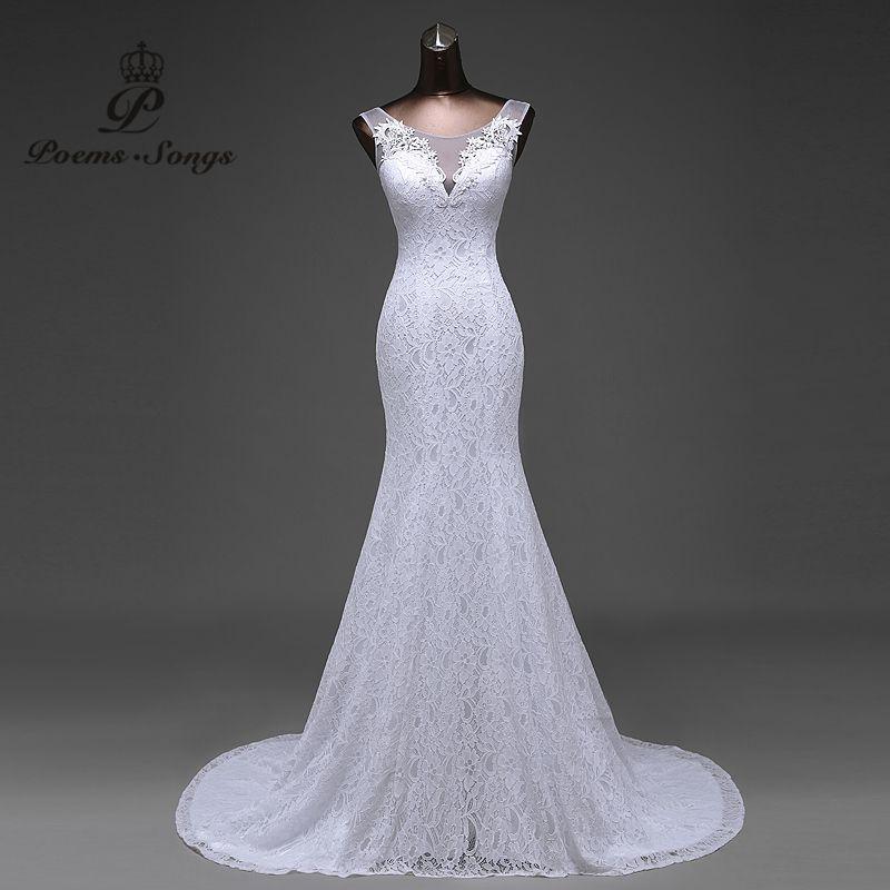 Hot sale free shipping Elegant beautiful lace flowers mermaid Wedding <font><b>Dresses</b></font> vestidos de noiva robe de mariage bridal <font><b>dress</b></font>