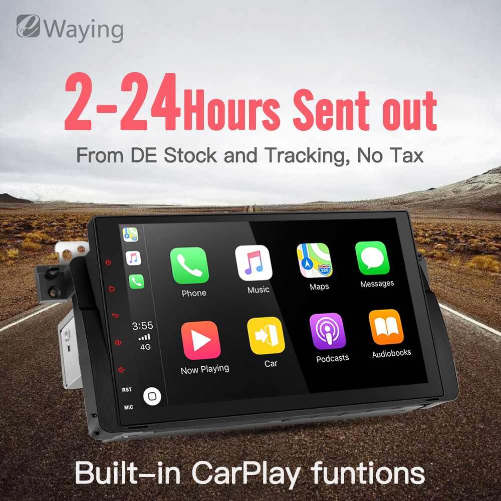 Ewaying Quad-Core Android 7.1 2G+16G 2.5D IPS screen Built-in Carplay For BMW/E46/M3/MG/ZT Support GPS Navigation Radio
