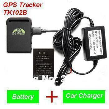 2016 новое поступление GPS трекер TK102B + Автомобильное зарядное устройство + Батарея + коробку, бесплатная доставка