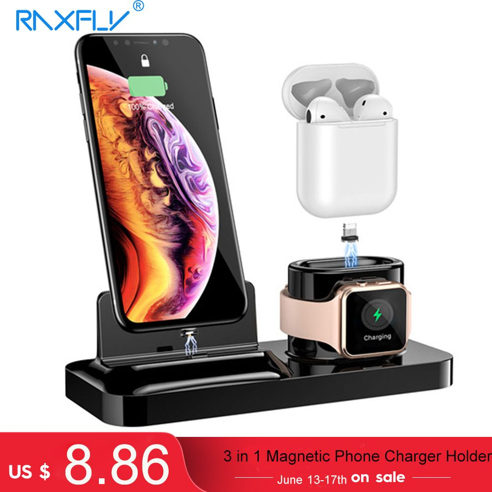 RAXFLY 3 in 1 Magnetic Phone Charger Holder For iPhone Dock Wireless Charging For Airpods Stand Holder For Apple Watch Charger