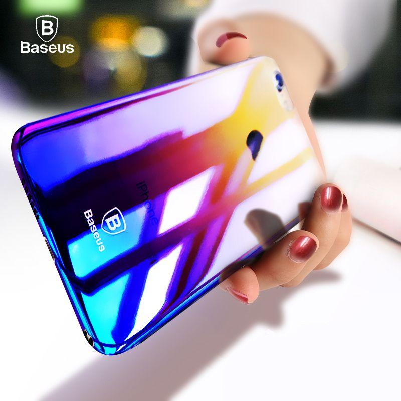 Baseus De Luxe Cas Pour l'iphone 7/7 Plus Coloré Mince Transparent dur PC Aurora Gradient Couleur Cas Pour iPhone 6 6 s Plus La Couverture