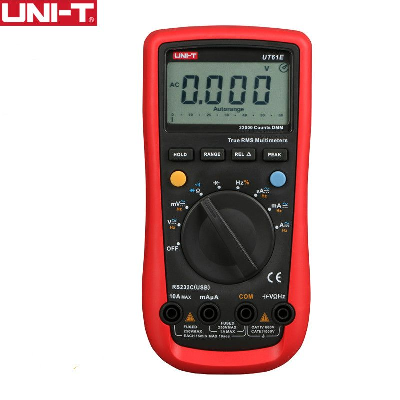 UNI-T UT61E High Reliability Digital Multimeter PC Connect AC DC Voltage Meter Data Hold Relative Mode 22000 Counts Data Hold