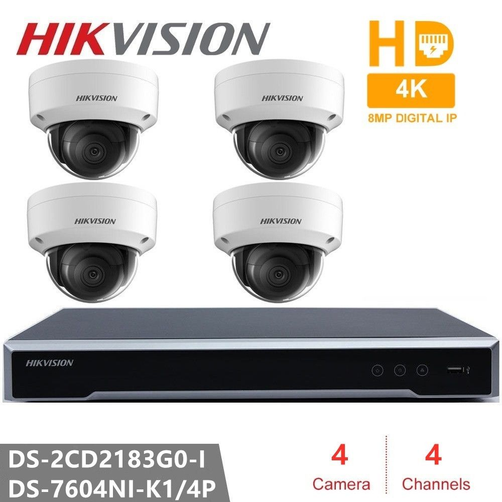 Hikvision IP kamera Kits 4CH 4POE NVR + 4 PCS DS-2CD2183G0-I 8MP Netzwerk mini Dome Sicherheit Cctv-kamera POE SD karte 30 m IR H.265 +