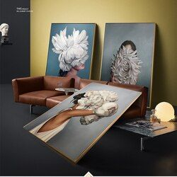 WANGART Big Size Posters and Prints Flowers Feather Women Oil Painting Canvas Wall Pictures for Living Room Home Decoration jy74