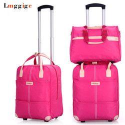 Mujeres Maletas con ruedas bolsa, Oxford tela impermeable viaje maleta, Maleta de ruedas, equipaje de mano portátil dragbox con el bolso