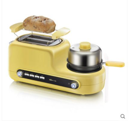 3C home multi-functional Automatic toaster roast / fried / steamed / fried with non-stick pan /stainless steel steamer / bowl