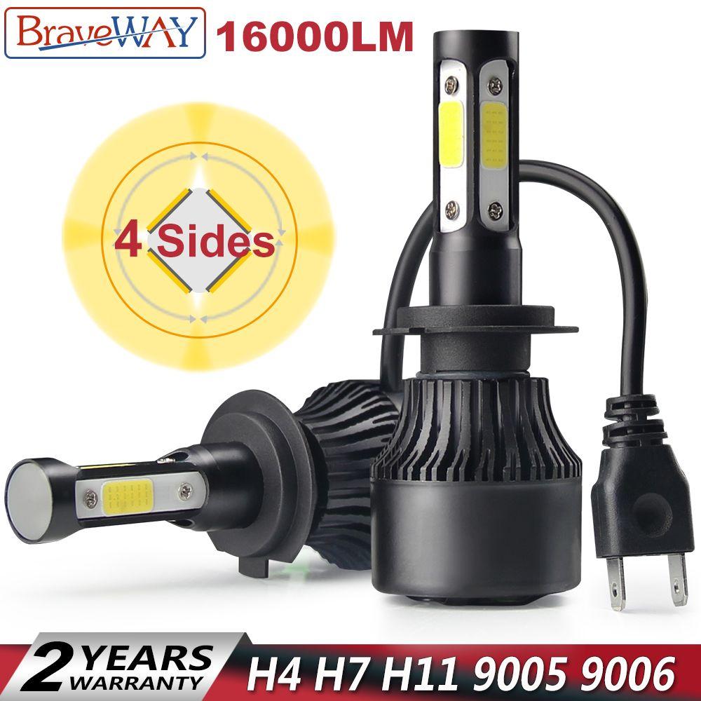 BraveWay 4 Sides LED COB Chip H4 H7 LED 16000LM H11 9005 9006 Car LED Headlight 12V HB3 HB4 H7 H4 LED Bulb Lamp H11 for Auto