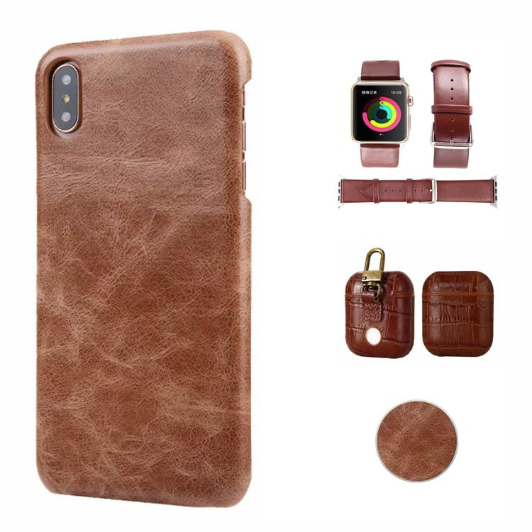 Real leather Scrub holder Bracket Case for iPhone x xr xs max 6s 7 8 plus AirPods Watch strap back Cover Case