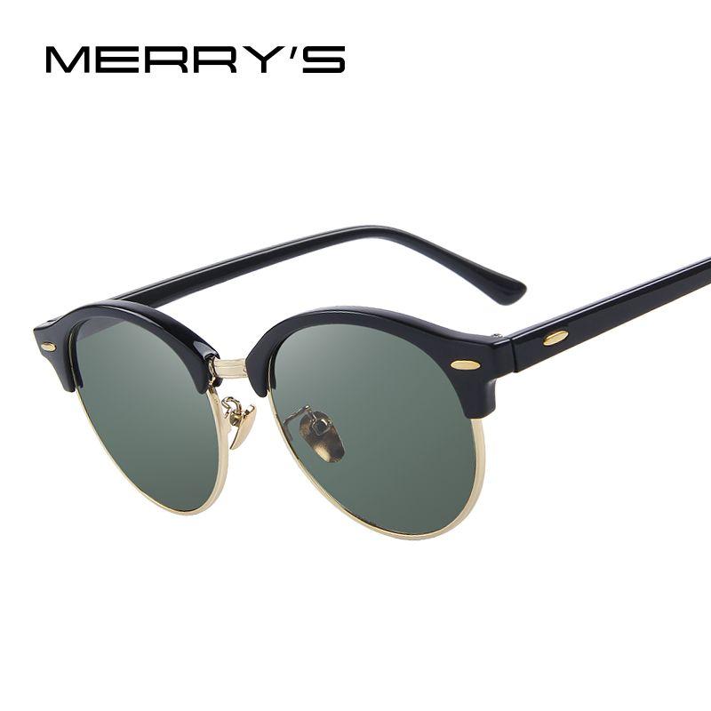 MERRY'S Men Retro Rivet Polarized Sunglasses Classic <font><b>Brand</b></font> Designer Unisex Sunglasses Half Frame S'8054
