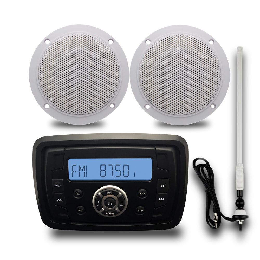 Marine Waterproof Bluetooth Stereo Audio Radio FM AM MP3 Music Player+ 42 Way Marine Speakers For ATV UT Outdoor Boat + Antenna